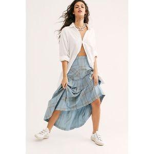 Free People Plaid Fever Blue Midi Skirt NWT